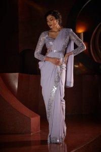 Lavender Stitched Saree