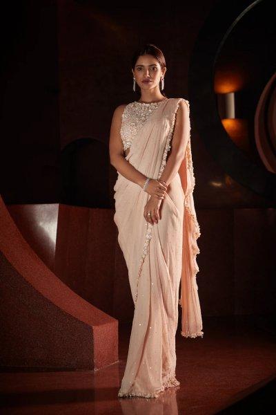 Peach Stitched Saree