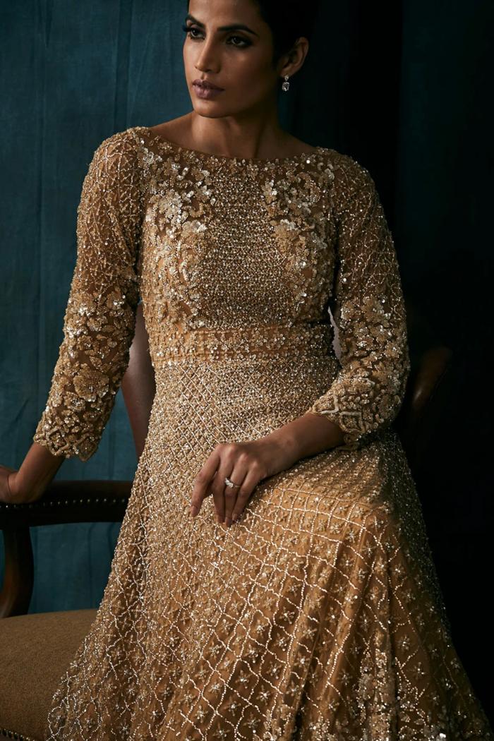Antique Gold Sequins Gown