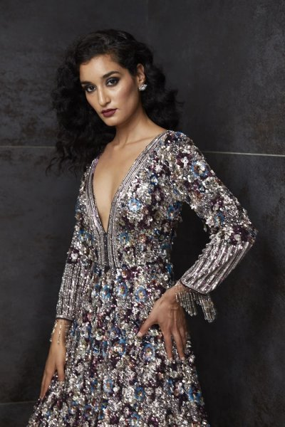 Multi-Colored Sequins Gown