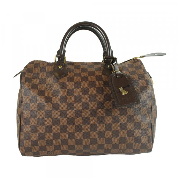 Speedy 30 handbag in brown monogram canvas and natural leather