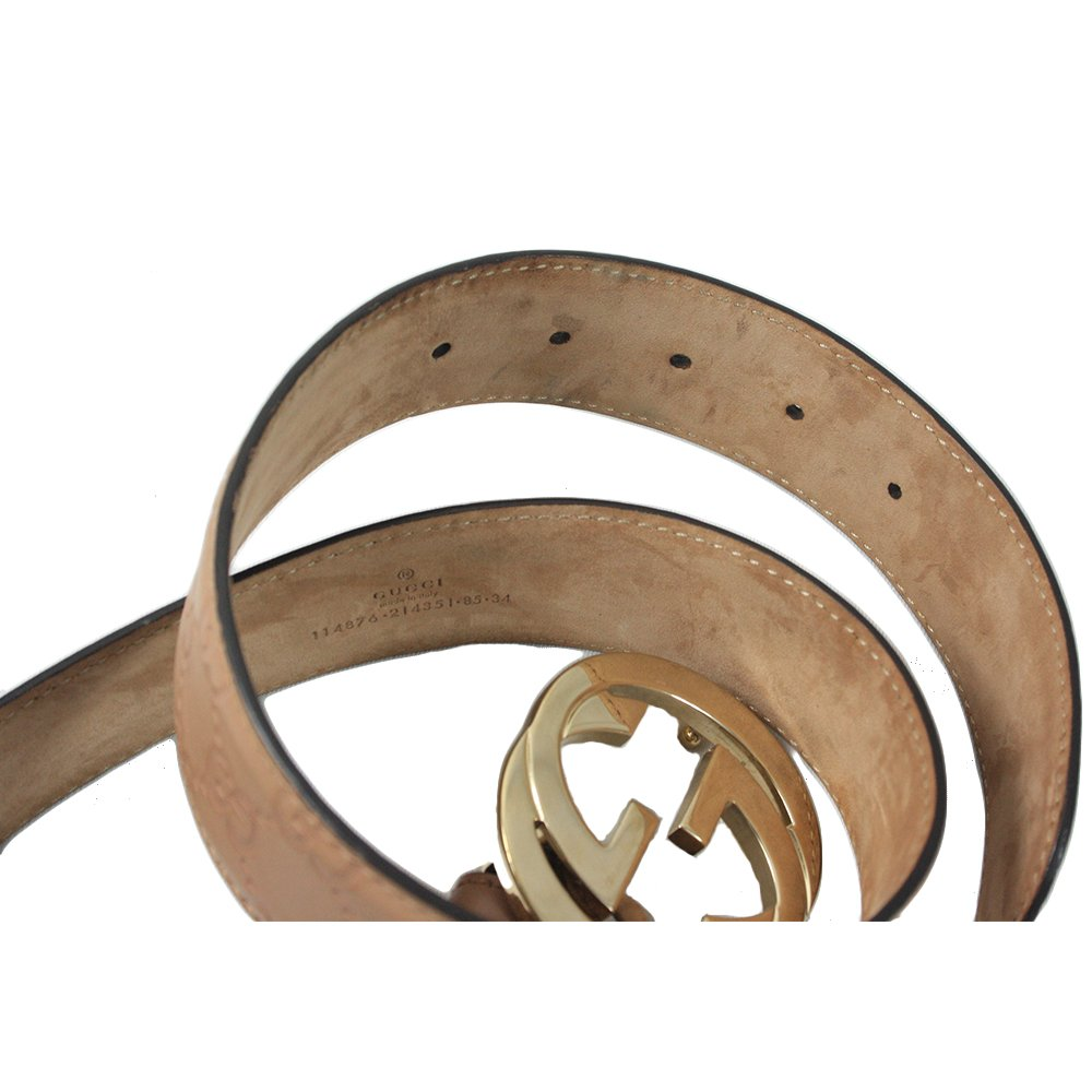 Embossed Brand Buckle Belt- 34