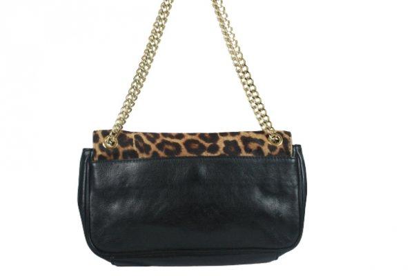 Black Leopard Print Calfhair and Leather Buckle Flap Shoulder Bag