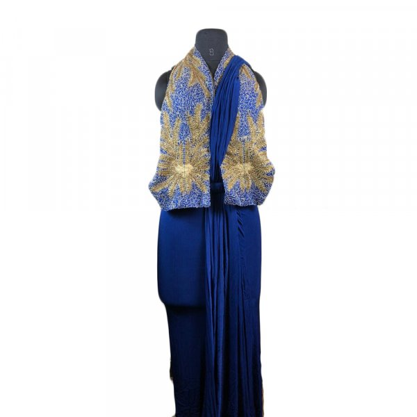 Blue Saree with Embroidered Jacket