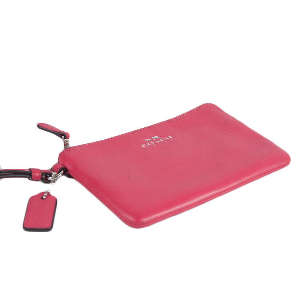 Signature PVC and Leather Corner Zip Wristlet