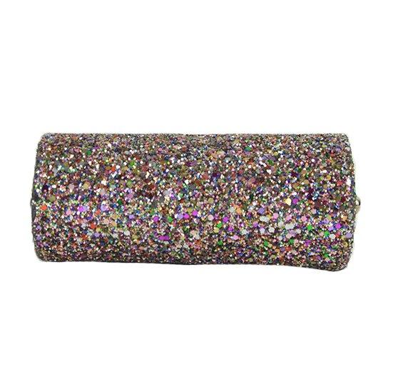 Glitter Fabric Mini Tube Clutch Multi Colored