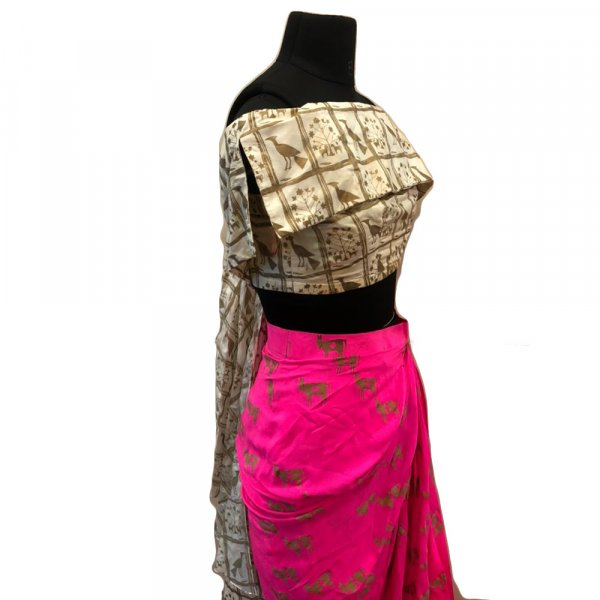 Off white moor printed off shoulder top with hot pink drape skirt