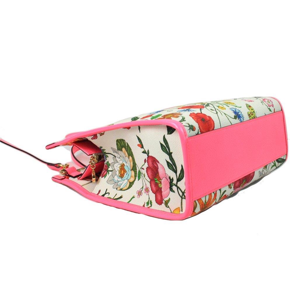 Medium Flora Multi-Color Canvas & Pink Leather 2- Way Bag