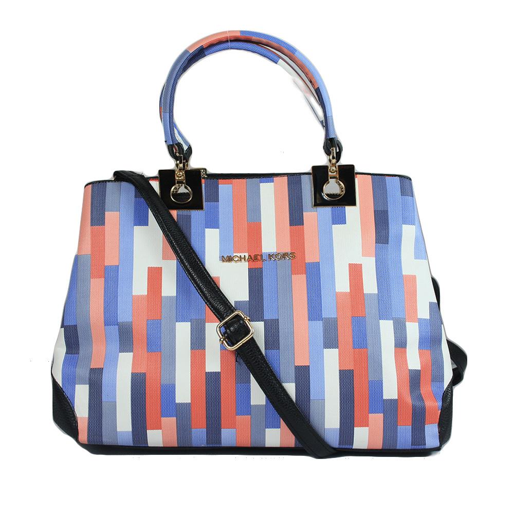 Blue Pink Block Printed bag