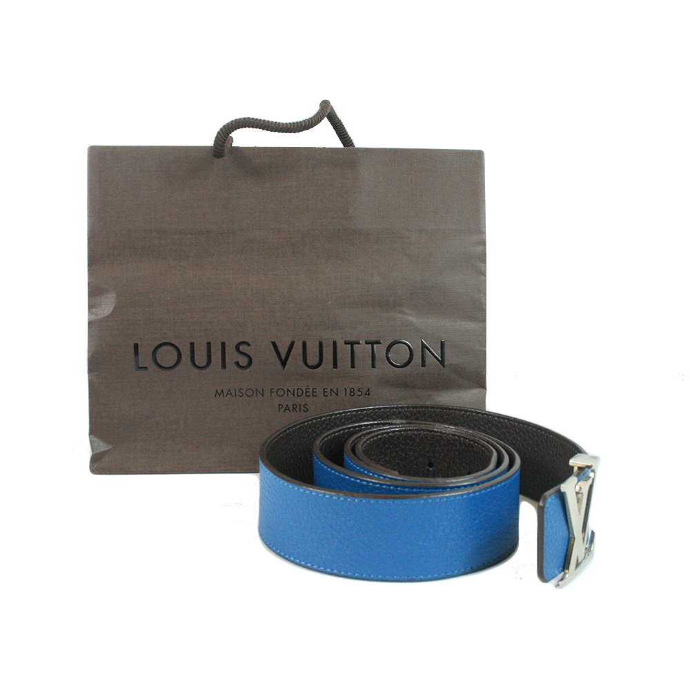 Blue Taurillon Leather LV Initiales Belt