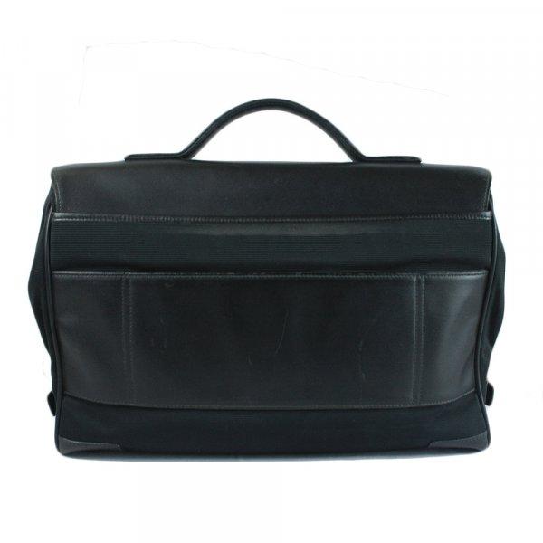 Black Leather and Nylon Laptop Bag