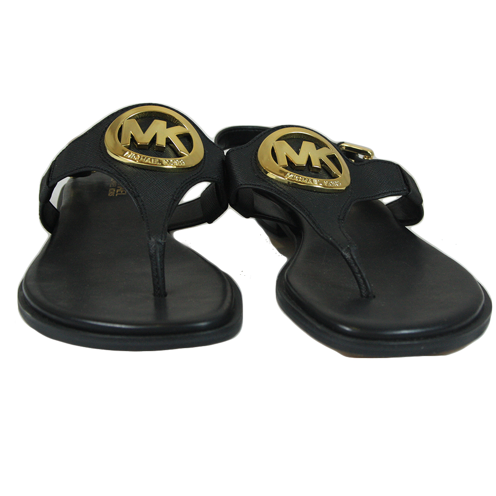 Black sandals with gold logo size - 6M