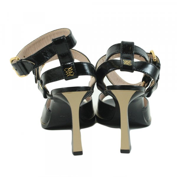 buckled faux patent-leather heels Size: 37.5