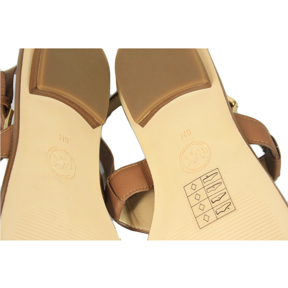 Tan sandals with gold logo size - 6M