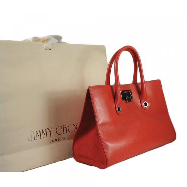 Red Grainy Calf Leather Tote Cross-body Large Bag