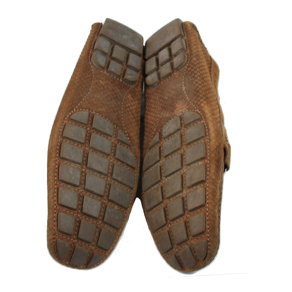 Brown Suede Damier Ebene Check Monte Carlo Loafers Size - 43