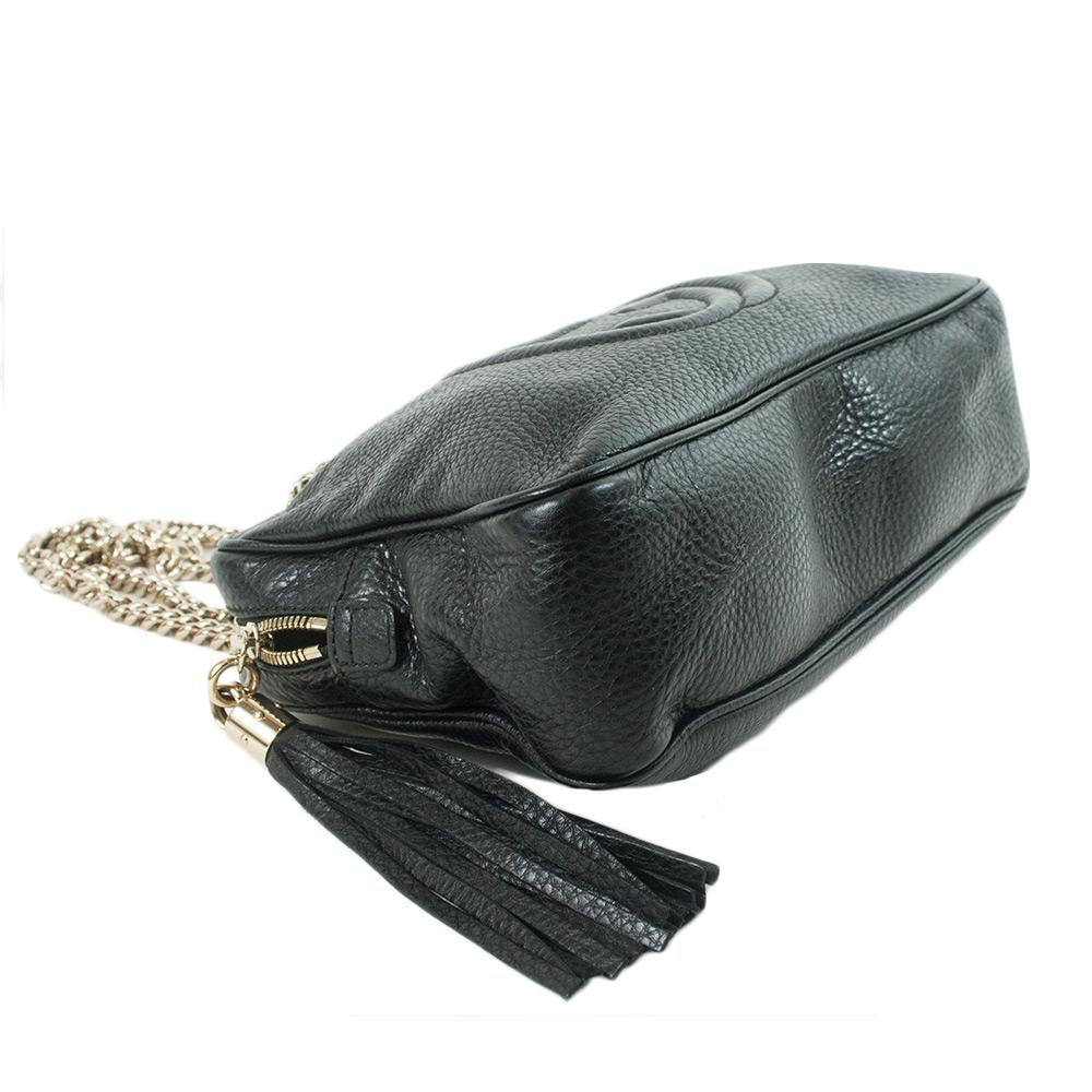 Large Leather Chain Shoulder Handbag Black
