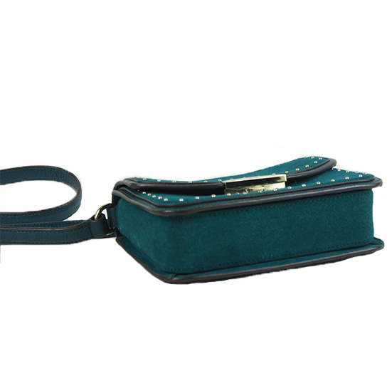 Kenway West Street Green Suede and Leather Cross Body Bag
