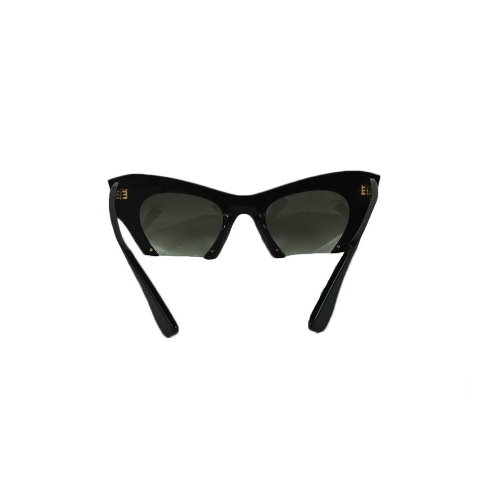 Semi-Rimless Embellished Cat Eye Sunglasses