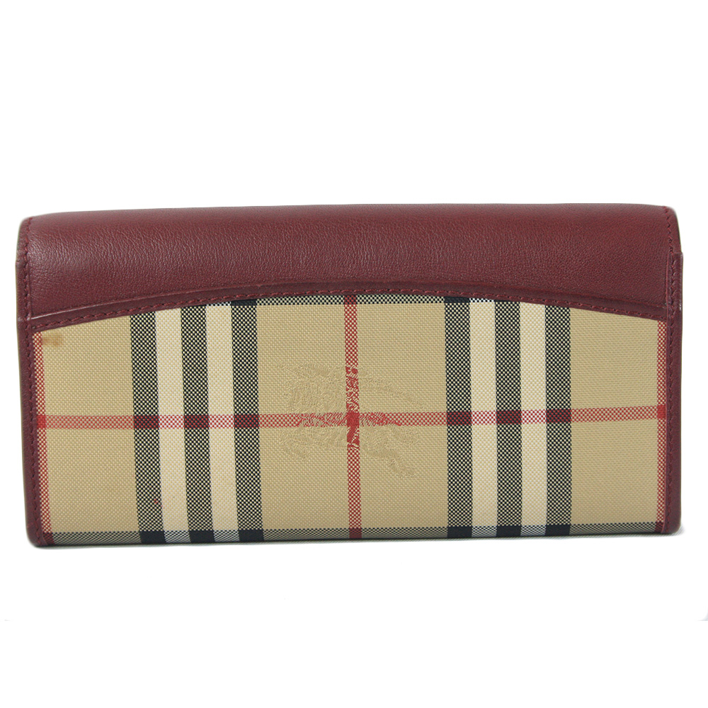 Calfskin House Check Continental Wallet Red