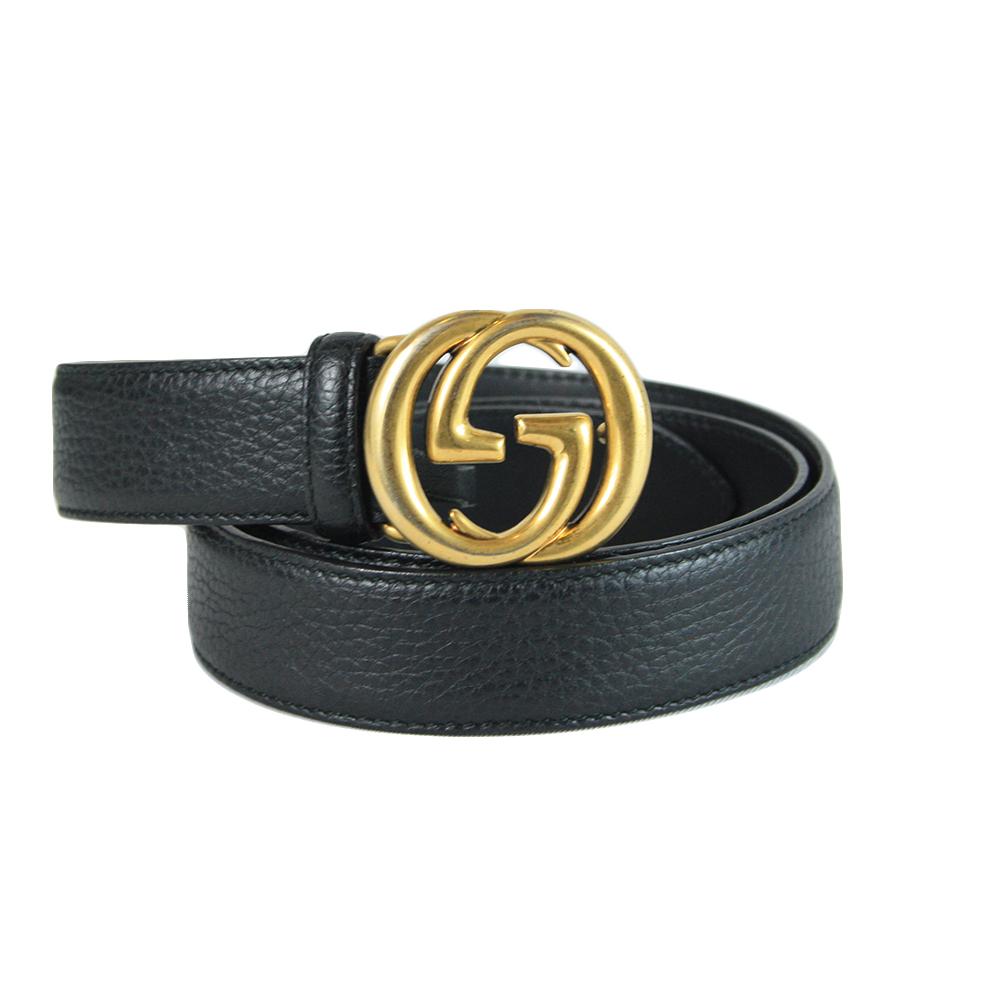 Leather belt with interlocking G buckle - 90/36