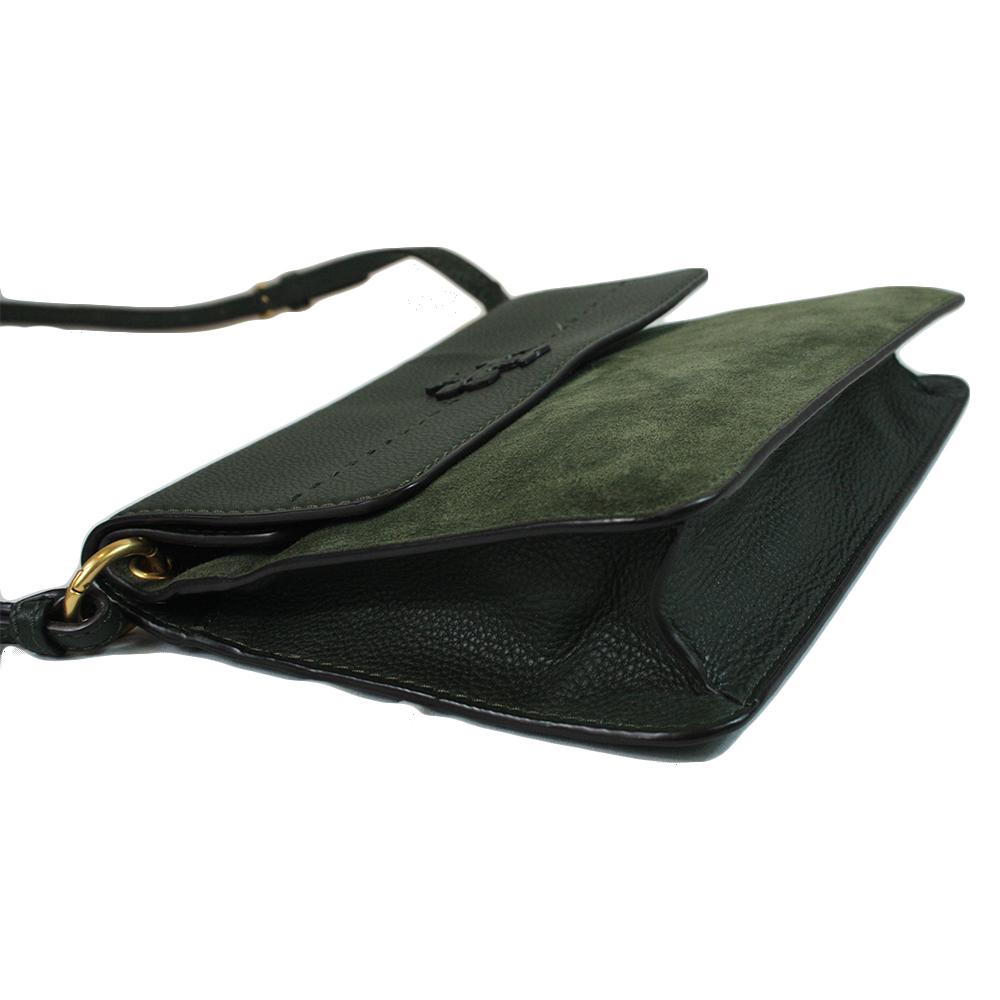 MCGRAW MIXED SUEDE SHOULDER BAG (OLIVE GREEN)