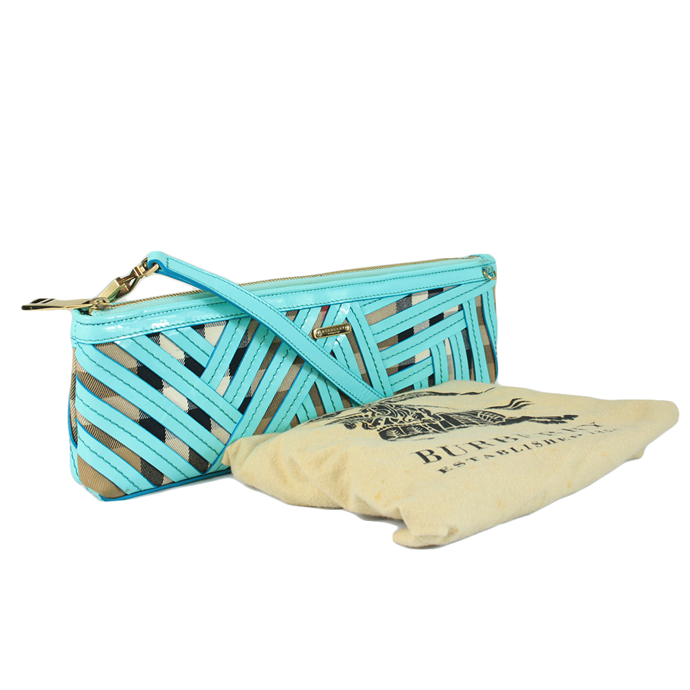 Green/Beige Canvas and Patent Leather Prorsum Parmoor Clutch