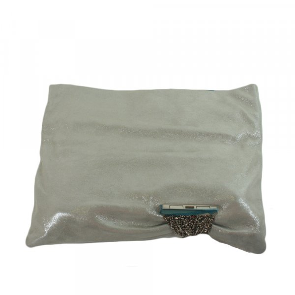 Chandra Silver Shimmer Suede Sand Handbag Clutch