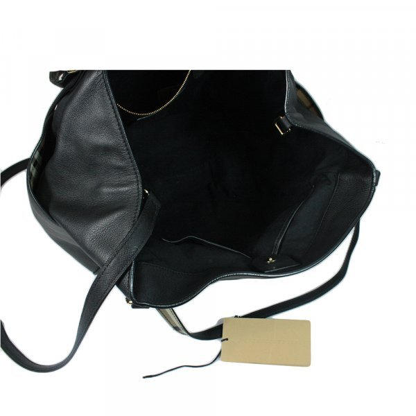 Salisbury Black Leather Belted Shopping Tote