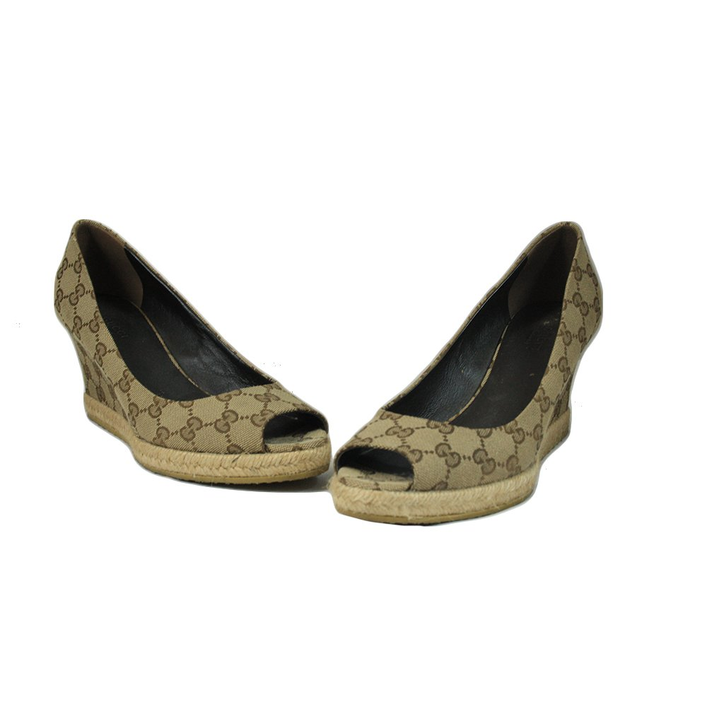 Beige GG Canvas Charlotte Horsebit Peep Toe Wedge Pumps Size 38.5
