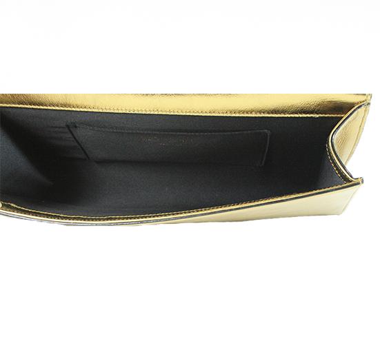 Metallic Gold Leather Bell de Jour Clutch Bag