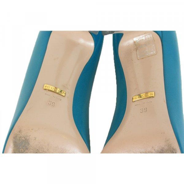 Turquoise Patent Leather Jolene Horsebit Pumps  Size- 39