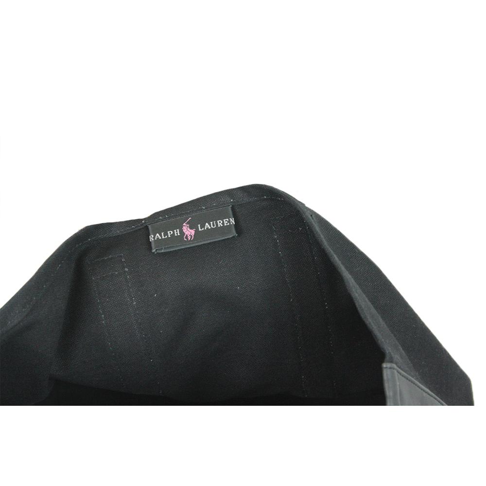 Polo Pony Black canvas tote bag