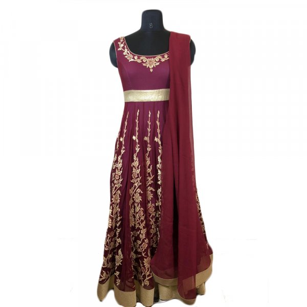 Brick Red Crinkled Anarkali Suit With Dori Embroidery