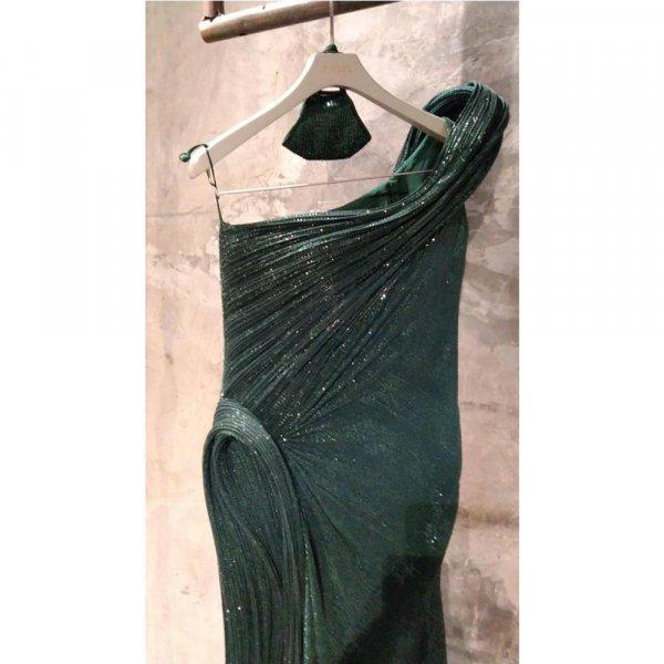 Emerald green One-Shoulder Sequin Sculpted Gown- Medium