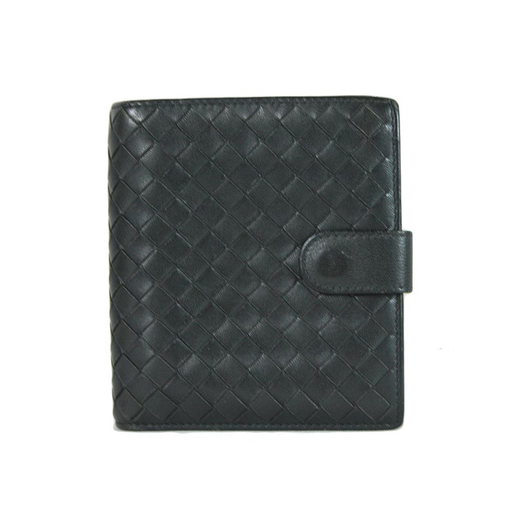 Black intrecciato leather wallet