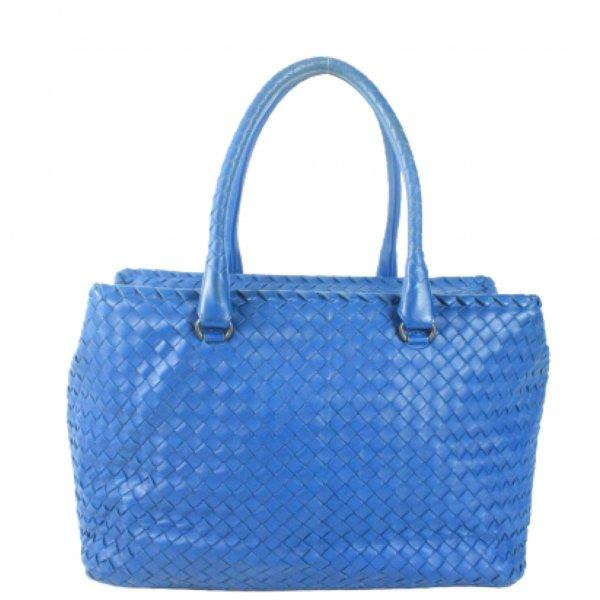 Blue intrecciato nappa leather tote