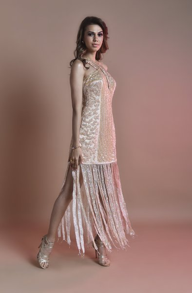 Heavy embroidered dress with tassels (SIZE S)