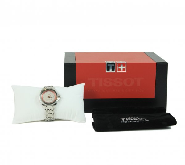 Silver Watch With A White Dial And Red Rim