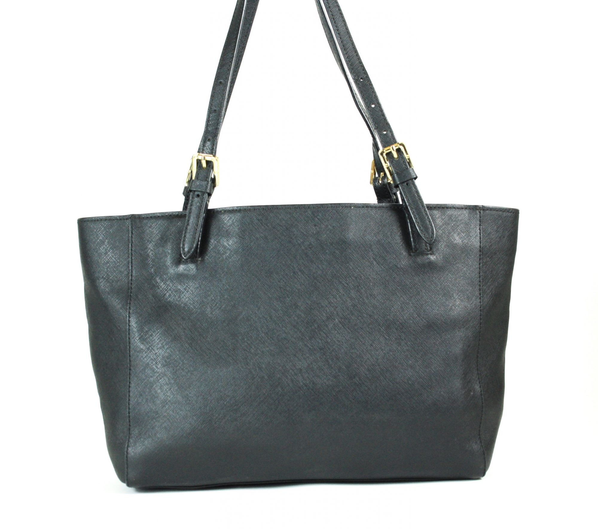 Black Leather Buckle Tote