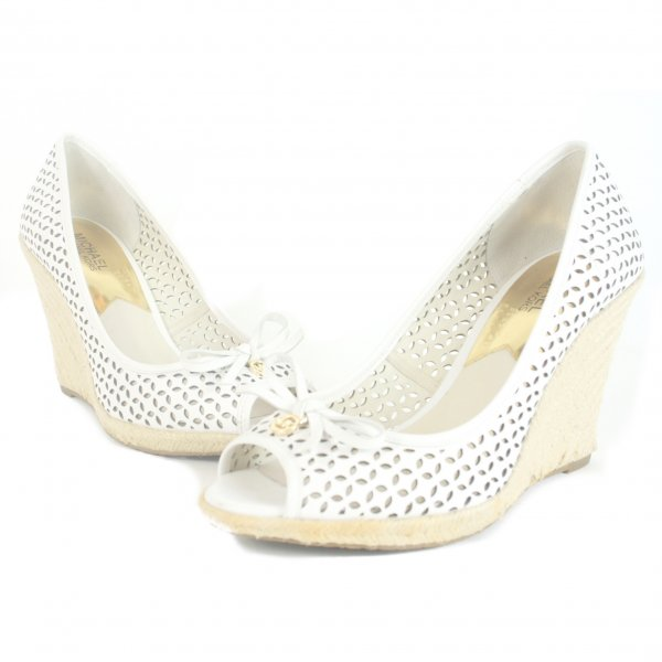 White Perforated Peep Toe Wedges Size: 9.5M