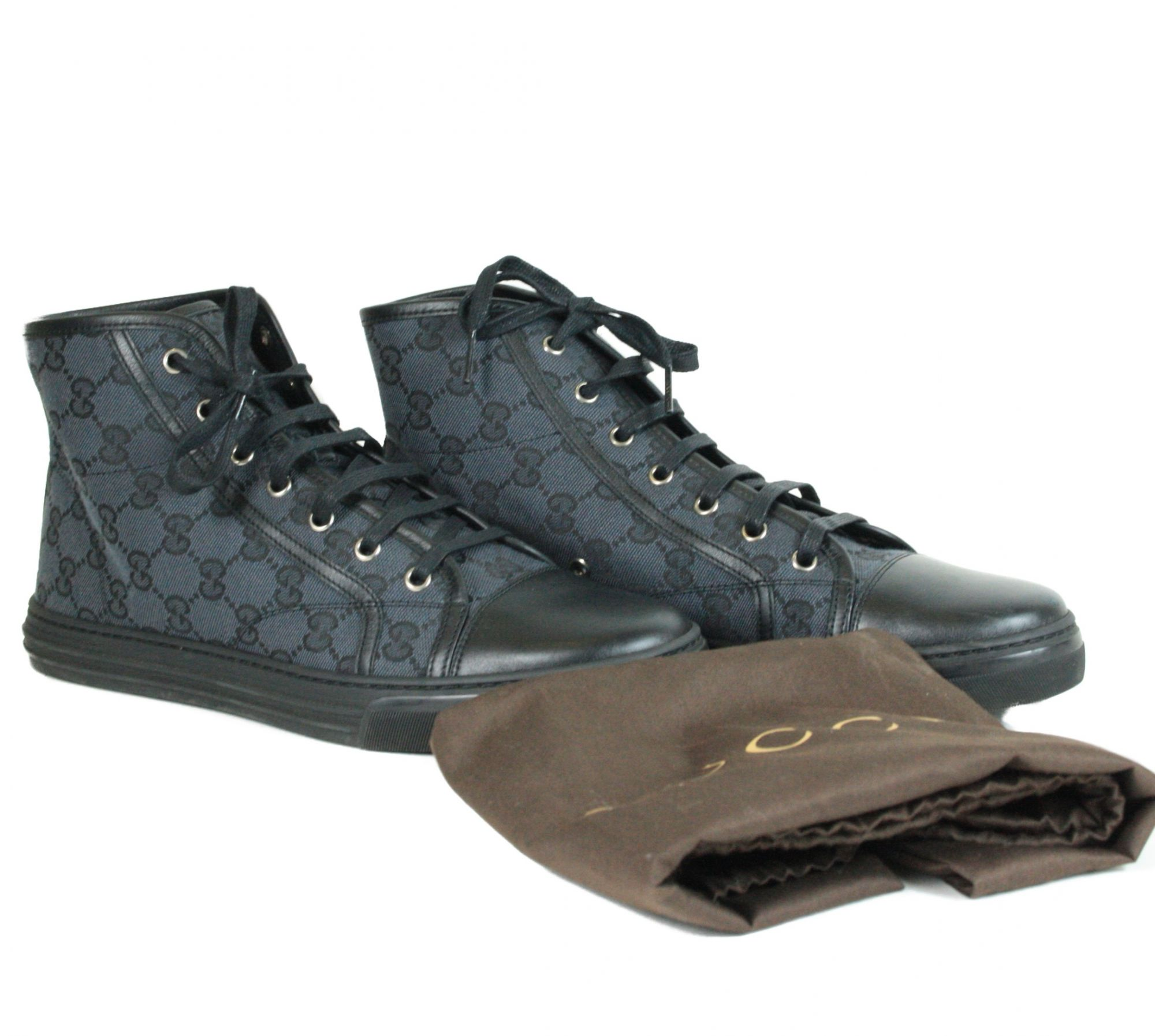GG Canvas and Leather Lace Up High Top Sneakers (Size: 41)