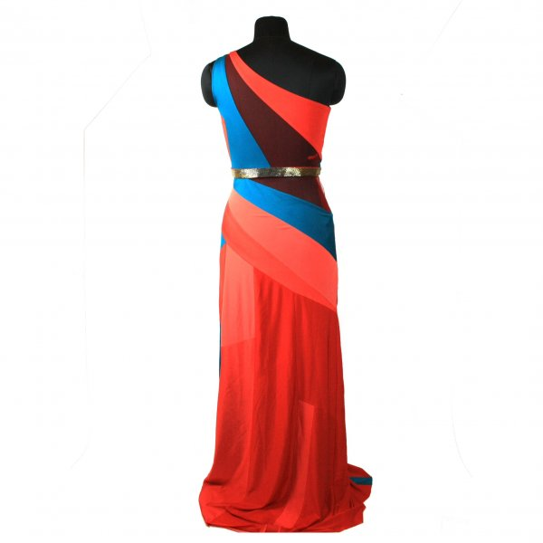 Red and Blue Off Shoulder Gown
