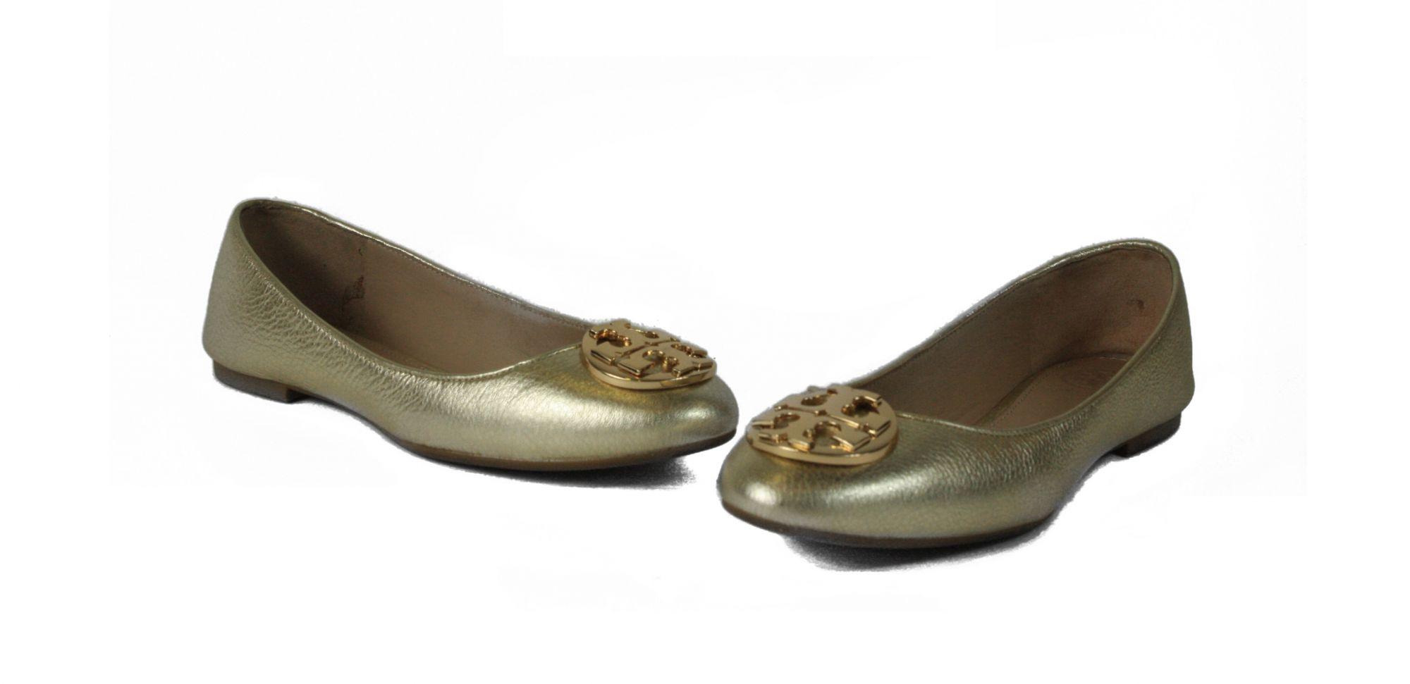 Minnie Travel Ballet Flat In Gold Metallic Leather