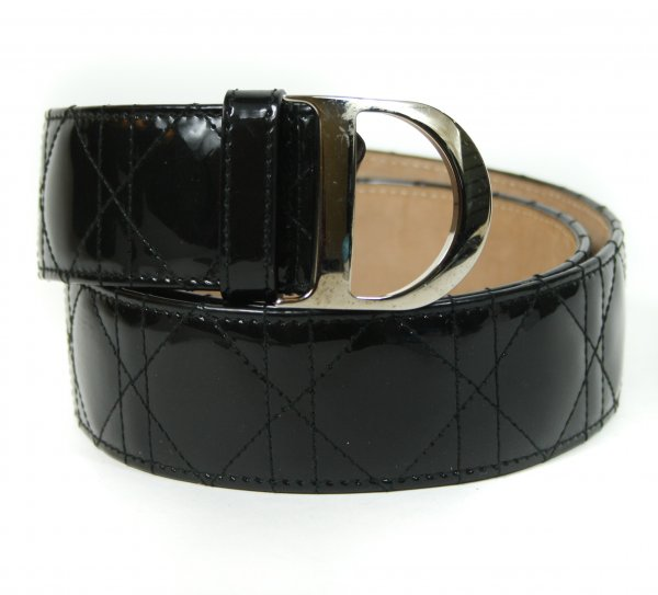 Patent Cannage Quilted Belt Black