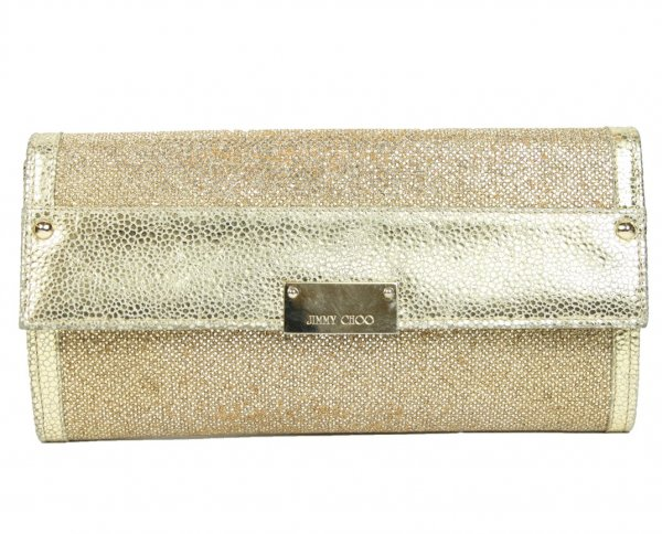 Gold Reese Continental Metallic Leather and Glitter Clutch
