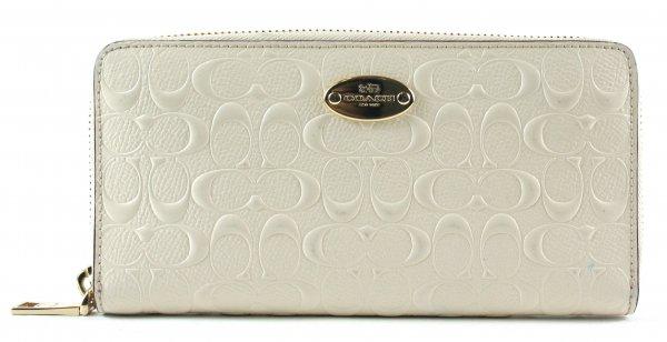 Cream Accordion Debossed Zip-Around Wallet