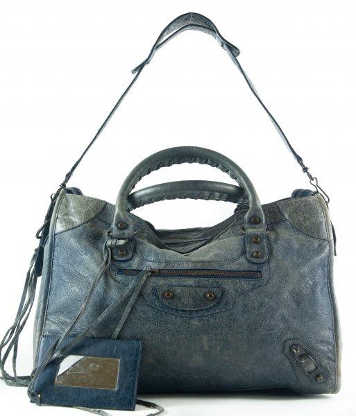 City Women's Handbag Blue Leather Satchel