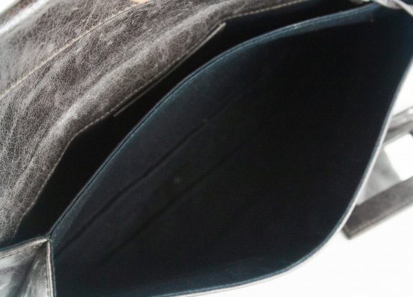 Anthracite Leather Giant Brogues Covered Leather Envelope Flap Clutch