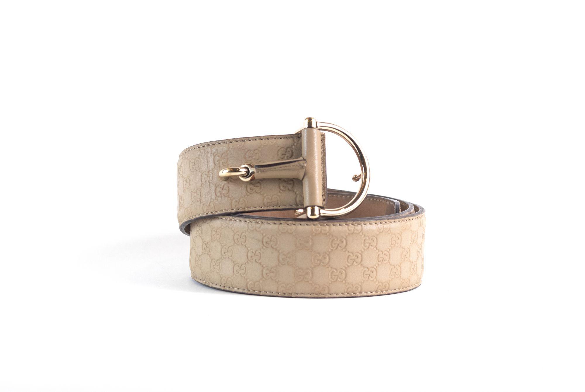 Beige Logo Print Belt